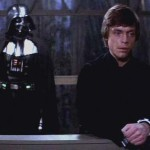 Luke refusing to fight or give up on Vader.