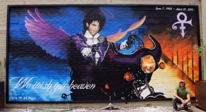 Prince mural at the Rialto Theatre. Artist: Joe Pagac.